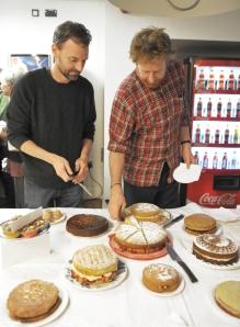 tucking into cake