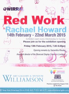 Red Work exhibition at Williamson Art Gallery PV invite