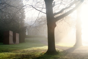 art school in mist